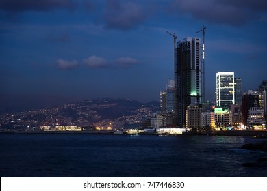 Beirut, Lebanon - September 29 2015: View of a bay with skyscraper and cranes in Beirut at night, Lebanon