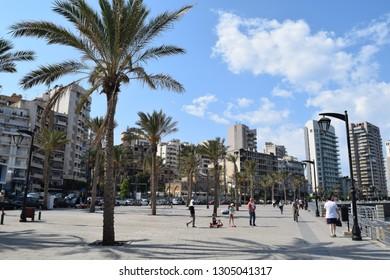 BEIRUT, LEBANON - SEPTEMBER 30, 2017: The Corniche Beirut.