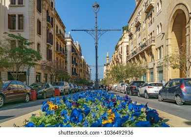 BEIRUT, LEBANON - A street of Beirut Central District (or Centre Ville) Beirut Lebanon 2 February 2018