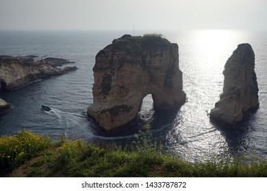 Beirut Pigeon Rocks and motor boat
