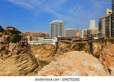 Beirut/Lebanon - February 2 2018: Pidgeon rocks in Beirut.