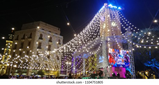 Beirut/Lebanon - June 2018: Ramadan Festivities in Downtown Beirut - Lights and Festivals decorate Mosque and Nejme Square