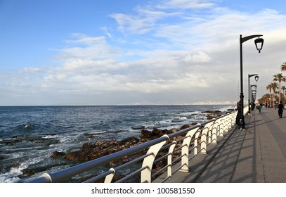 Beirut's famous seaside promenade in the late afternoon (Lebanon)