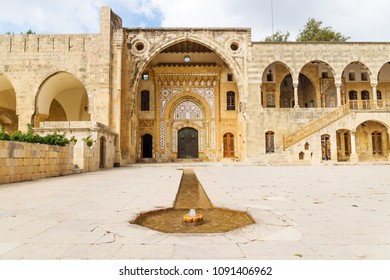 Beit ed-Din, Lebanon - October 6 2015: Fountain leading to entrance of Emir Bachir Chahabi Palace Beit ed-Dine in sunshine in mount Lebanon Middle east