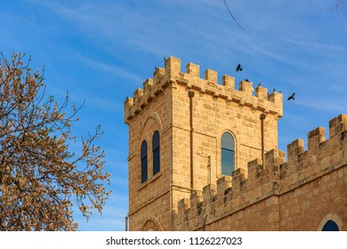 BEIT JAMAL/ ISRAEL - MARCH 03, 2018: Belltower of monastery Beit Jamal