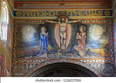 BEIT JAMAL/ ISRAEL - MARCH 03, 2018: Painting of Jesus Christ on wall of church of the First Martyr St. Stephen in the monastery Beit Jamal