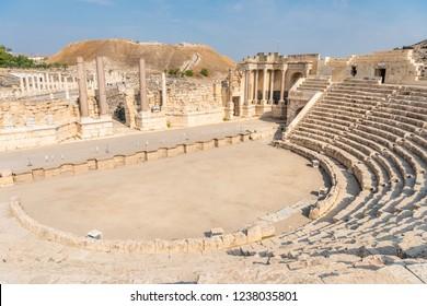 Beit She'an national park, Roman Ruins of amphitheatre and Roman columns. Beit Shean in Israel Roman civilization.