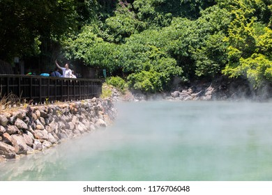 Beitou, Taiwan-May 18,2018:Beitou Thermal Valley or Geothermal Valley or Hell Valley, volcanic crater filled with steaming natural sulfuric hot spring water at Beitou, Taiwan