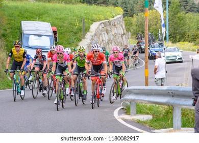 Beixalis, Encamp, Andorra - September 15, 2018: Cyclist during stage 20  of La Vuelta 2018 in Beixalis,Encamp, Andorra.