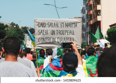 Bejaia, Algeria - 06/21/2019: Manifestation against Gaid Salah after  his last speech about forbidding the Amazigh emblem in protests.