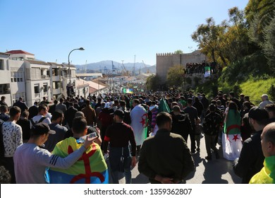 Bejaia, Algeria - March 15 2019 : Friday of protest in Algeria. The protesters demand the withdrawal of the current president Abdelaziz Bouteflika