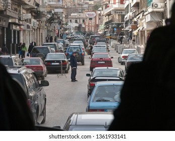 Zahlé, Bekaa Governorate / Lebanon - Feb 12, 2010: View from bus to the busy street of the city of Zahlé with traffic jam