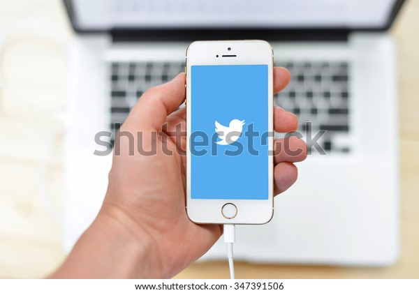 "BEKASI, INDONESIA - DECEMBER 5, 2015: Twitter is an online social networking service that enables users to send and read short 140-character messages called ""tweets""."