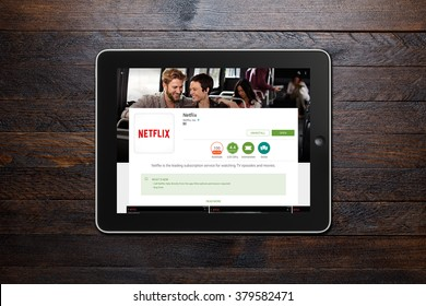 BEKASI, INDONESIA - FEBRUARY 21, 2016: Netflix app on Google Play Store displyed on iPad. Netflix is a global provider of streaming movies and TV series, and now has over 75 million subscribers.