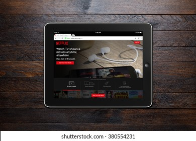BEKASI, INDONESIA - FEBRUARY 23, 2016: Netflix website on Google Chrome displayed on iPad. Netflix is a global provider of streaming movies and TV series, and now has over 75 million subscribers.