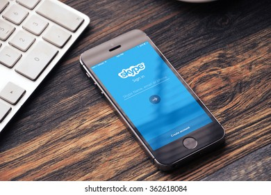 BEKASI, INDONESIA - JANUARY 15, 2015 - Skype login screen on iPhone with keyboard on the side. Skype was founded in 2003 by Niklas Zennström, from Sweden, and Janus Friis, from Denmark.