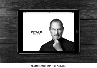 BEKASI, INDONESIA - JANUARY 2, 2015: An iPad wallpaper of the tribute to Steve Jobs, Co-founder, Chairman, and Chief Executive Officer (CEO) of Apple Inc. Steve Jobs passed away on October 5, 2011.