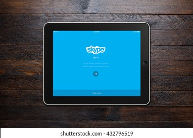BEKASI, INDONESIA - JUNE 7, 2016 - Skype login screen displayed on an iPad. The first public beta version of Skype was released on 29 August 2003.