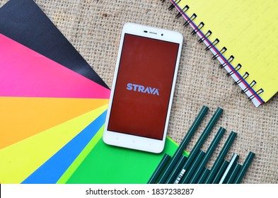 Bekasi, Indonesia - Oct 19,2020: Strava app on smartphone, popular sport app in the world wide,Strava is a social-fitness network app. #Strava