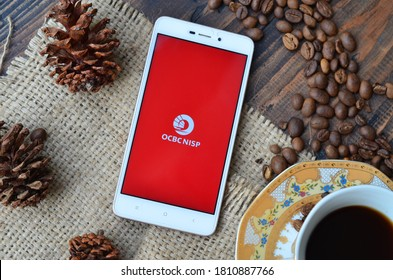 Bekasi, Indonesia - Sept 8,2020: OCBC NISP Bank on smartphone, popular Bank In Indonesia