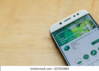 BEKASI, WEST JAVA, INDONESIA. APRIL 22, 2018 : Kaspersky Battery Life dev application on Close-up Smartphone screen. Saver & Booster is a freeware web browser developed by Kaspersky Lab
