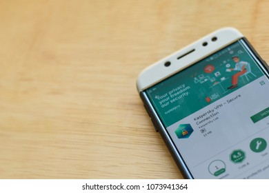 BEKASI, WEST JAVA, INDONESIA. APRIL 22, 2018 : Kaspersky VPN dev application on Close-up Smartphone screen. Secure Connection is a freeware web browser developed by Kaspersky Lab