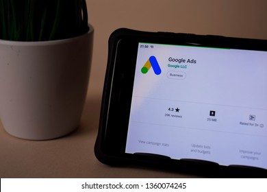 BEKASI, WEST JAVA, INDONESIA. APRIL 5, 2019 : Google Ads dev application on Smartphone screen. Google Ads is a freeware web browser developed by Google LLC