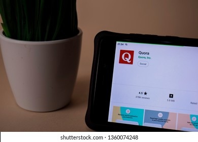 BEKASI, WEST JAVA, INDONESIA. APRIL 5, 2019 : Quora dev application on Smartphone screen. Quora is a freeware web browser developed by Quora, Inc