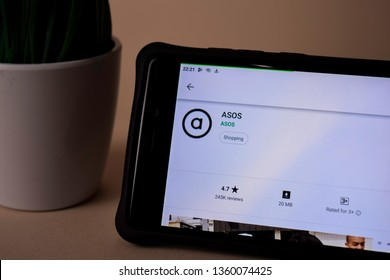 BEKASI, WEST JAVA, INDONESIA. APRIL 5, 2019 : ASOS dev application on Smartphone screen. ASOS is a freeware web browser developed by ASOS