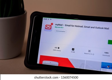 BEKASI, WEST JAVA, INDONESIA. APRIL 5, 2019 : myMail dev application on Smartphone screen. For Hotmail, Gmail, Outlook Mail is a freeware web browser developed by My.com B.V