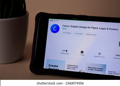 BEKASI, WEST JAVA, INDONESIA. APRIL 5, 2019 : Canva: Graphic Design dev application on Smartphone screen. Flyers, Logos, Posters is a freeware web browser developed by Canva