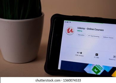 BEKASI, WEST JAVA, INDONESIA. APRIL 5, 2019 : Udemy - Online Courses dev application on Smartphone screen. Udemy is a freeware web browser developed by Udemy