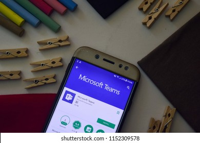 BEKASI, WEST JAVA, INDONESIA. AUGUST 9, 2018 : Microsoft Teams App on Smartphone screen. Microsoft Teams is a freeware web browser developed by Microsoft Corporation
