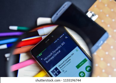 BEKASI, WEST JAVA, INDONESIA. AUGUST 14, 2018 : Microsoft Dynamics 365 Business Central in magnifying on Smartphone screen. Dynamics 365 is a freeware web browser developed by Microsoft Corporation