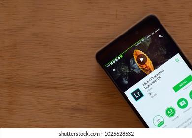 BEKASI, WEST JAVA, INDONESIA. FEBRUARY 16, 2018 : Adobe Photoshop Lightroom CC dev application on Smartphone screen.  Adobe Photoshop Lightroom CC is a freeware web browser developed by Adobe