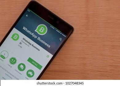 BEKASI, WEST JAVA, INDONESIA. FEBRUARY 18, 2018 : WhatsApp Business dev application on Smartphone screen. WhatsApp Business is a freeware web browser developed by WhatsApp Inc