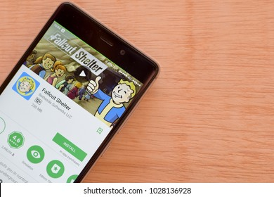 BEKASI, WEST JAVA, INDONESIA. FEBRUARY 19, 2018 : Fallout Shelter dev application on Smartphone screen. Fallout Shelter is a freeware web browser developed by Bethesda Softworks LLC