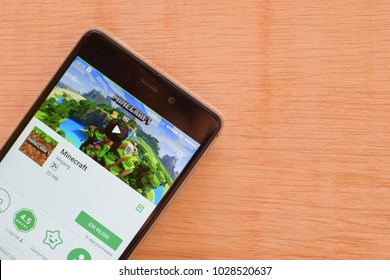 BEKASI, WEST JAVA, INDONESIA. FEBRUARY 20, 2018 : Minecraft Game application on Smartphone screen. Minecraft is a freeware web browser developed by Mojang