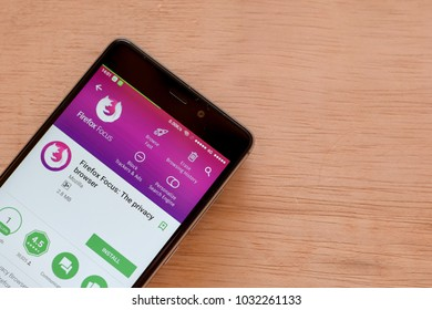 BEKASI, WEST JAVA, INDONESIA. FEBRUARY 24, 2018 : Firefox Focus: The privacy browser dev application on Smartphone screen. Firefox Focus is a freeware web browser developed by Mozilla