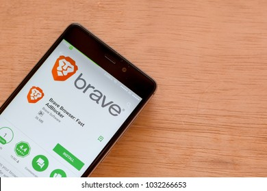 BEKASI, WEST JAVA, INDONESIA. FEBRUARY 24, 2018 : Brave Browser: Fast AdBlocker dev application on Smartphone screen. Brave Browser is a freeware web browser developed by Brave Software