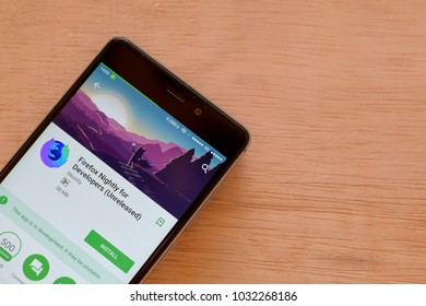 BEKASI, WEST JAVA, INDONESIA. FEBRUARY 24, 2018 : Firefox Nightly for Developers (Unreleased) dev application on Smartphone screen. Firefox Nightly is a freeware web browser developed by Mozilla