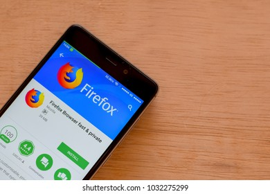 BEKASI, WEST JAVA, INDONESIA. FEBRUARY 24, 2018 : Firefox Browser Fast & Private dev application on Smartphone screen. Firefox Browser is a freeware web browser developed by Mozilla