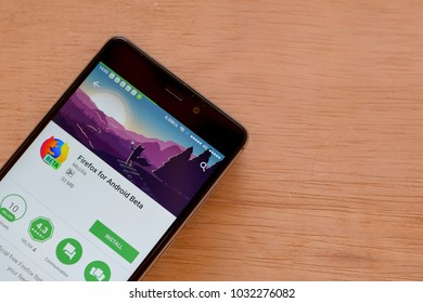 BEKASI, WEST JAVA, INDONESIA. FEBRUARY 24, 2018 : Firefox for Android Beta dev application on Smartphone screen. Firefox is a freeware web browser developed by Mozilla