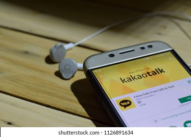 BEKASI, WEST JAVA, INDONESIA. JULY 04, 2018 : KakaoTalk dev application on Smartphone screen. Free calls & Text is a freeware web browser developed by Kakao Corpration
