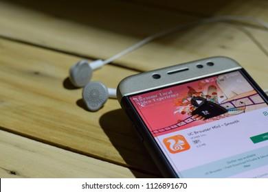 BEKASI, WEST JAVA, INDONESIA. JULY 04, 2018 : UC Browser Mini- Smooth dev application on Smartphone screen. UC Browser Mini- Smooth is a freeware web browser developed by UCweb Inc