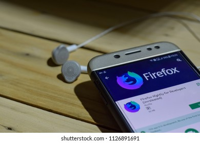 BEKASI, WEST JAVA, INDONESIA. JULY 04, 2018 : Firefox Nightly For Develovers (Unrealesed) dev application on Smartphone screen. Firefox (Unrealesed) is a freeware web browser developed by Mozilla