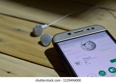 BEKASI, WEST JAVA, INDONESIA. JULY 06, 2018 : Wikipedia dev application on Smartphone screen. Wikipedia is a freeware web browser developed by Wikimedia Foundation