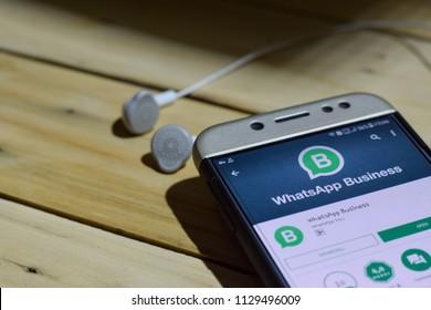 BEKASI, WEST JAVA, INDONESIA. JULY 06, 2018 : WhatsApp Business dev application on Smartphone screen. WhatsApp Business is a freeware web browser developed by WhatsApp Inc
