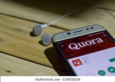 BEKASI, WEST JAVA, INDONESIA. JULY 09, 2018 : Quora dev application on Smartphone screen. Quora is a freeware web browser developed by Quora. Inc