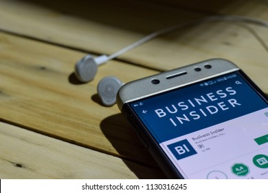 BEKASI, WEST JAVA, INDONESIA. JULY 09, 2018 : Business Insider application on Smartphone screen. Business Insider is a freeware web browser developed by Business Insider.Inc
